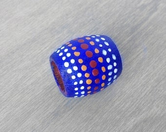 Blue Dreadlock Bead Patterned Tribal Hair Bead - Wood Hand Painted Dread Bead - 10mm hole