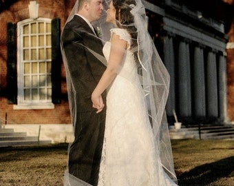 CATHEDRAL CASCADING Veil with Satin Ribbon, bridal veil, wedding veil, champagne, ivory, diamond white, floating veil,