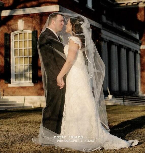 CATHEDRAL CASCADING Veil with Satin Ribbon    bridal veil, wedding veil, champagne, ivory, diamond white, ribbon pipping. floating veil,