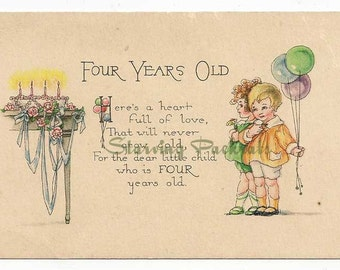 Vintage Antique Happy Birthday Greeting Card Four Year Old Happy Birthday Wishes 4 Year Boy