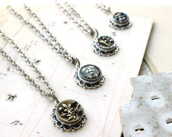 Bridesmaids Jewelry, Antique Button Necklace, Each one special & One of a Kind, Bridal Party Gifts, Button Jewelry by Donna Sutor, veryDonna
