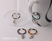 Halloween Wine Charms (Set of 4): Halloween Party, Halloween Decor, Witch Charms, October Gift, Witch and Broomstick