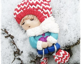 Doll Brooch Little girl with mittens Cute gift