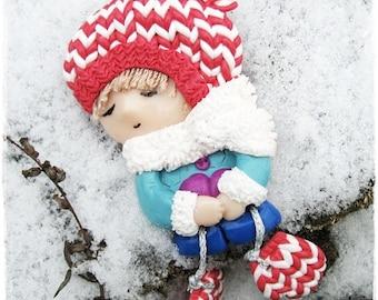 Brooch Little girl with mittens, Cute gift, Art doll brooch,