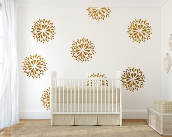 Vinyl wall decal art sticker - Rain Drop flower pattern - gold wall sticker gold wall pattern