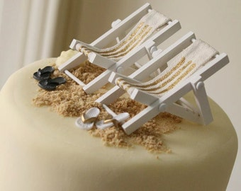 Beach Theme Wedding Cake Topper TWO Miniature SLING CHAIRS  Plus 2 Sets of Flip Flops - by Landscapes In Miniature