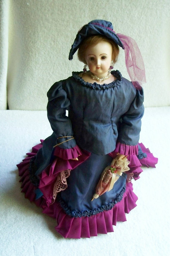 Vintage Victorian Doll 1970s Hand Made/Blue Ribbon Award/Gifts/Traditional/Victorian/Collectible/Gift/Historically Correct/Wedding/1st Place