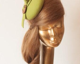 Modern Green Felt Fascinator. Fascinator for Women