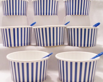 8 Blue striped paper cups - 8oz/200ml ice-cream cups - party favour dessert cups/spoons - blue striped cups - party favours - snack cups