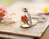 The Rose & the Bell Jar , red rose bud pendant , I love you , romantic jewellery, symbolic anniversary gift , valentines day, mini terrarium
