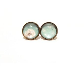 Dandelion Earring, Light Blue Stud Earrings, Light Blue Earrings, Clip On Earring, Post Earring, Dandelion Jewelry, Floral Earring