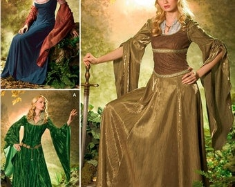 Medieval SCA Cosplay Costumes in the style of Lord of the Rings (like Arwen, Eowyn, Tauriel) SEWING Pattern, Simplicity 4940 ELF Sizes 10-26