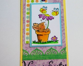 Bunny in A Flower Pot Happy Easter Tag, Handmade Tag, Bookmark, Gift Tag, Basket Name Tag