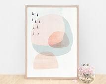 Large Abstract Modern Danish Art Print - Circles and Triangles- Light Peach version - Fine Art Giclee Print