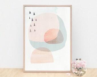 Large Art Prints, Danish Art Print, Scandinavian Art Print, Abstract Art Print, Peach Color Art, Calm Modern Art, Light Minimalist Art