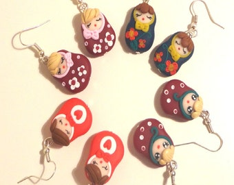 earrings Matrioska russian doll polymer clay