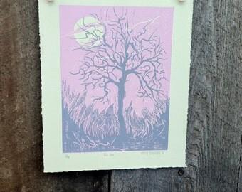 Bir Oak Tree print, pink and grey