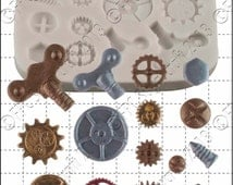 Silicone mould (mold) - 'Steampunk Cogs & Gears' by FPC Sugarcraft | resin mold, fimo mold, polymer clay mold, soapmaking mold