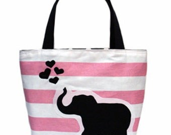 Elephant Love Patch Tote (Baby  Pink)