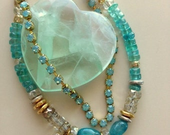 Aqua Chrysoprase, Crystal and Rhinestone and Gold and Silver Double Charm Bracelet