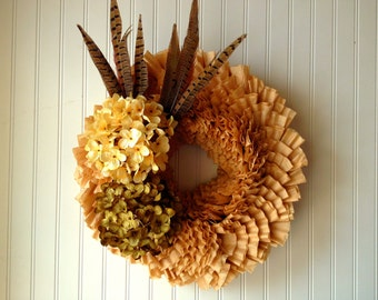 Coffee filter wreath for fall. fall wreath, wreath for fall, front door wreath, wreath for door, door wreath