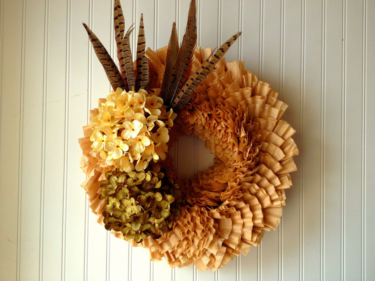 Coffee filter wreath for fall front door by YourHandmadeWreath