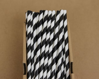 25 black striped straws (PS0014)  - party straws - with printable DIY flags