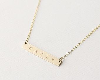 Personalised gold bar necklace - horizontal bar necklace - gold name bar necklace - name plate necklace - personalised bar necklace