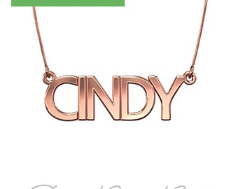"""14k Rose Gold Name Necklace in All Capitals (0.4mm thick) - """"CINDY"""" design"""