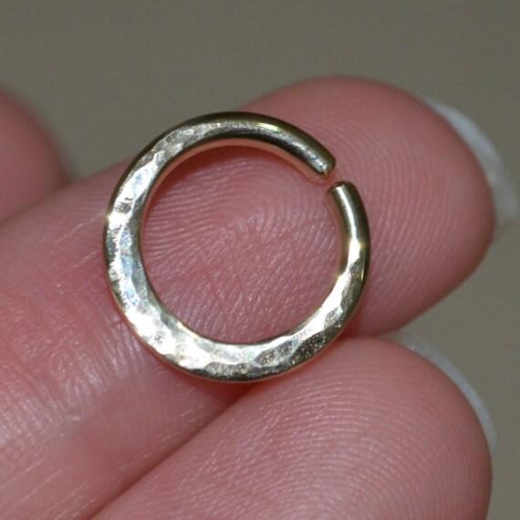 Hammered Septum Ring - Gold Nose Ring - Helix Ring - Tragus Piercing - Septum Hoop - Nipple Jewelry - Rook Hoop - Cartilage Ring 14 gauge