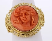 18K Gold Filigree Ring with Coral Cameo