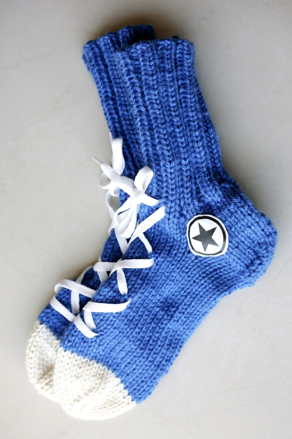 Knitting Pattern For Converse Socks : Hand Knit Converse socks Warm Blue Winter Wear Hipster