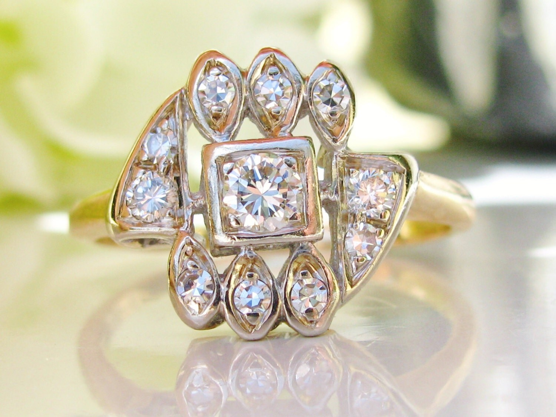 Unique Vintage Engagement Ring 0 54ctw by LadyRoseVintageJewel
