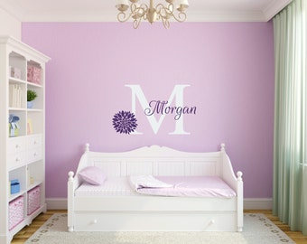 Girl Name Monogram Wall Decal Flower Wall Decals Girl Bedroom Decal Teen Room Decal Girl Nursery Wall Decals Baby Girl Decal