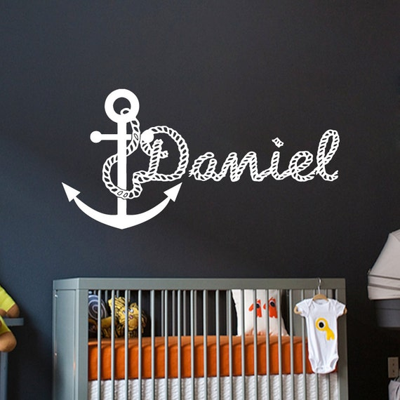 Custom Names Wall Decor : Wall decals for boys personalized name anchor decal by