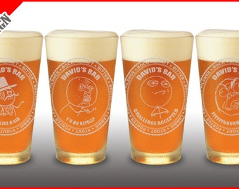 4 Pint Set  - Rage Comics / Rage Faces Custom Engraved Beer Glasses - Personalized Four Meme Glass Set