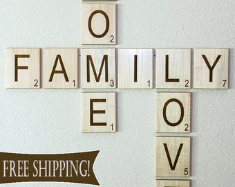 Scrabble Letters Large Individual Scrabble Tiles Crossword Wall Décor - Engraved Solid Wood