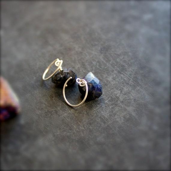 Dark Labradorite Gemstone Dangle Drop Earrings Stone Sterling Silver Black Blue Night Handmade Jewelry