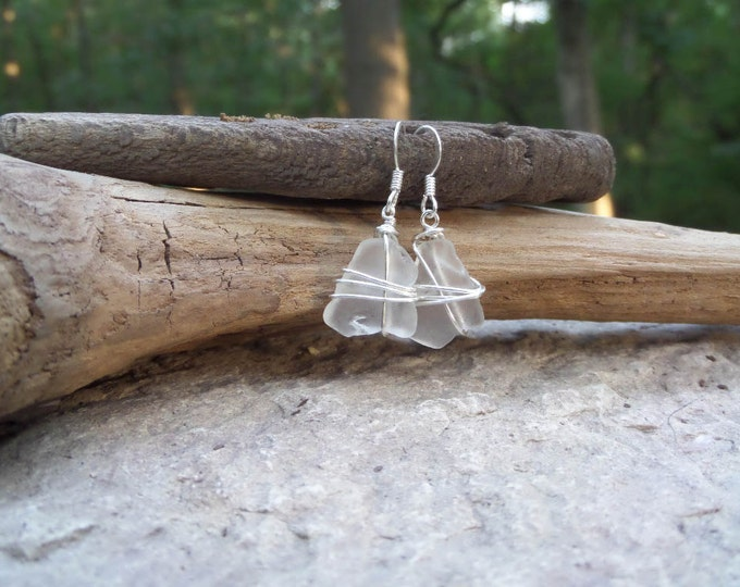 Sea Glass Earrings - French Souvenir - Unique Gifts for Women - 40th Birthday Gifts for Women - Bonjour Sea Glass by Goofy Moose