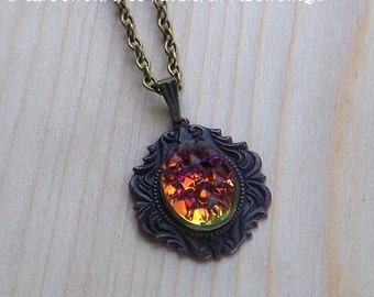 """HELIGA ELDEN™ Sacred Fire Pendant Necklace - Vintage West German Volcano Glass Cabochon in Victorian Brass Setting, 24"""" Chain"""