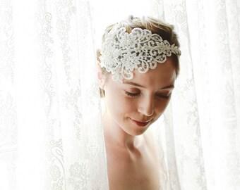 Beaded lace wedding headpiece, bridal lace headband, wedding fascinator, bridal hair accessory - style 221
