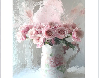 Roses Photography, Shabby Chic Decor, Pink Roses Print, Romantic Pink Roses Art, Pink Roses, Baby Girl Nursery Decor, Romantic English Roses