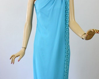 Vintage 60s Formal Dress Turquoise Blue One Shoulder Long Gown w Ribbon Bead Trim