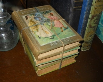Collectible Green and Olive Colored Antique Book Bundle for Home Decor Art Lalla Rookh Shakespeare Aristophanes and Hawthornes Wonder Book
