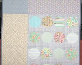 Shabby Chic Blanket, Quilt, Couch Throw:  Grey, Cream and Pink.