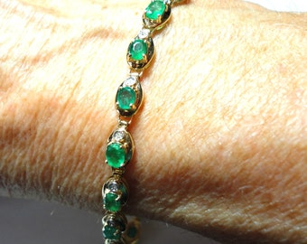 Emerald Bracelet Genuine Emerald and Diamond Tennis Link Bracelet in Solid 14k Gold Natural Colombian Emeralds 4.4 tcw Emeralds .60 tcw Dias