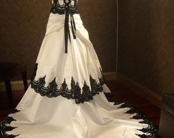 Stunning Gothic Black and White Wedding Dress converts to reception dress Custom Made to your Measurements