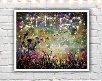 let it go - mixed media painting print - dandelion wall art - inspirational artwork