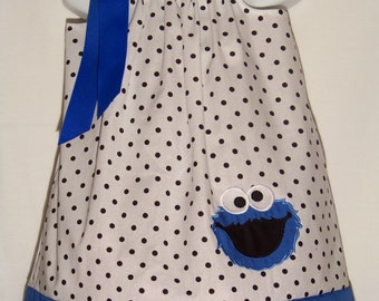 Cookie Monster Pillowcase Dress / Sesame Street / Newborn / Blue / Infant / Baby / Girl / Toddler / Birthday / Custom Boutique Clothing