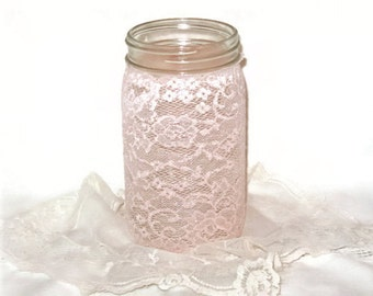 Lace Mason Jar Cover Pale Pink w/ silver blush, easy to apply and remove Wedding Centerpiece Decor